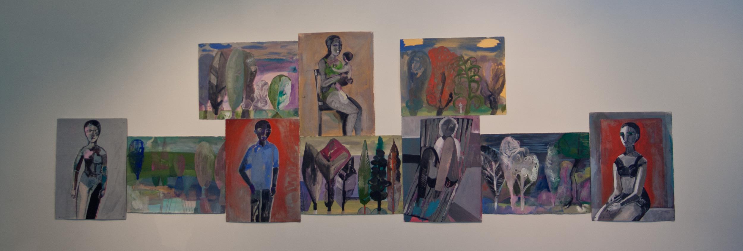 Installation of Karen Barbour paintings in Cannonball Run III at Zeitgeist, 2014