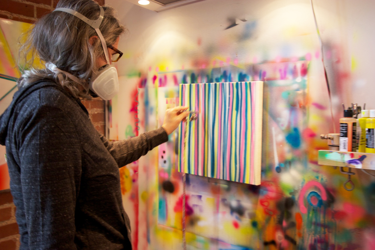 Blau at work in her studio