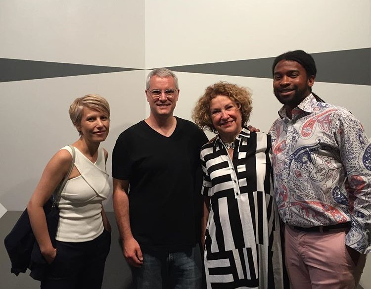 "Bojana Ginn, Pete Schulte, Susan Bridges and Eric Mack in front of ""As Above So Below"" by Pete Schulte at Zeitgeist"