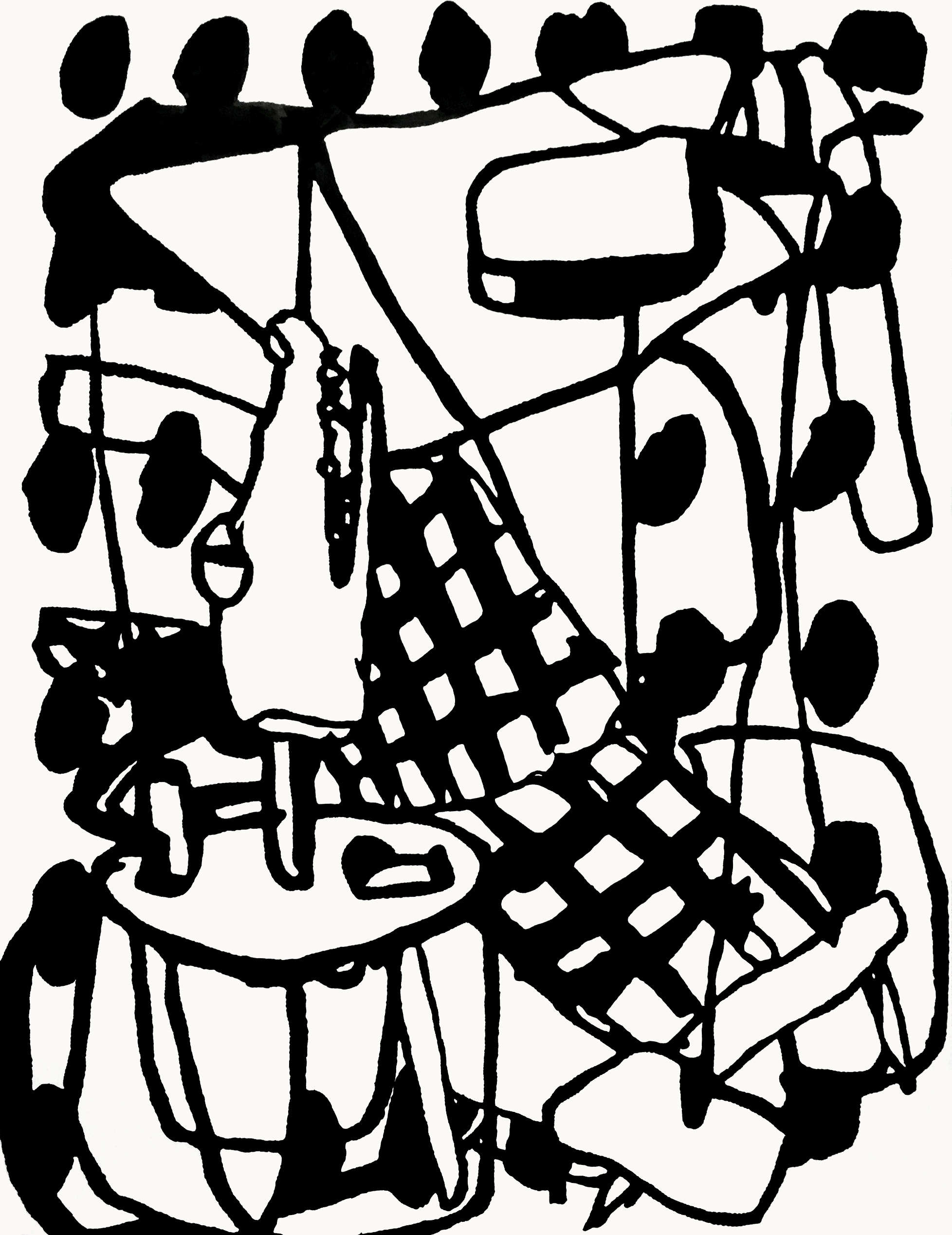 Patio, 2016, sumi ink on paper
