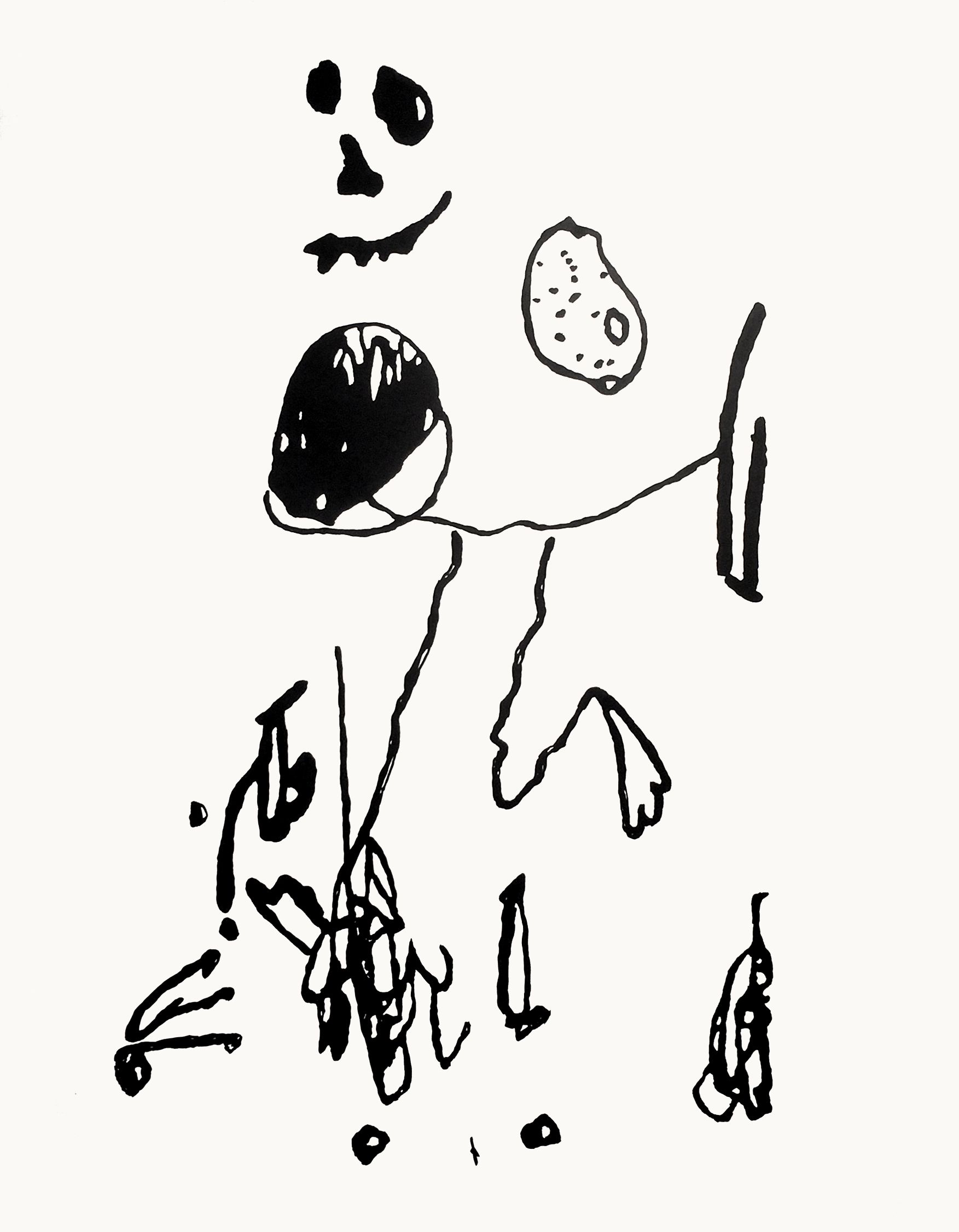 Stealing Fruit, 2016, sumi ink on paper