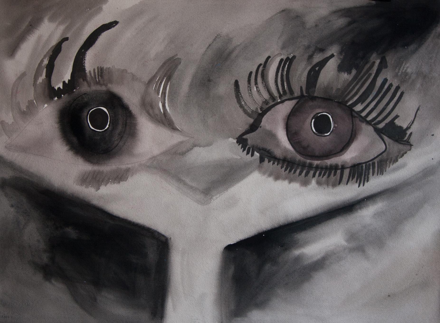 "untitled (eyes)  2015, flashe and acrylic on paper, 22 x 30"""