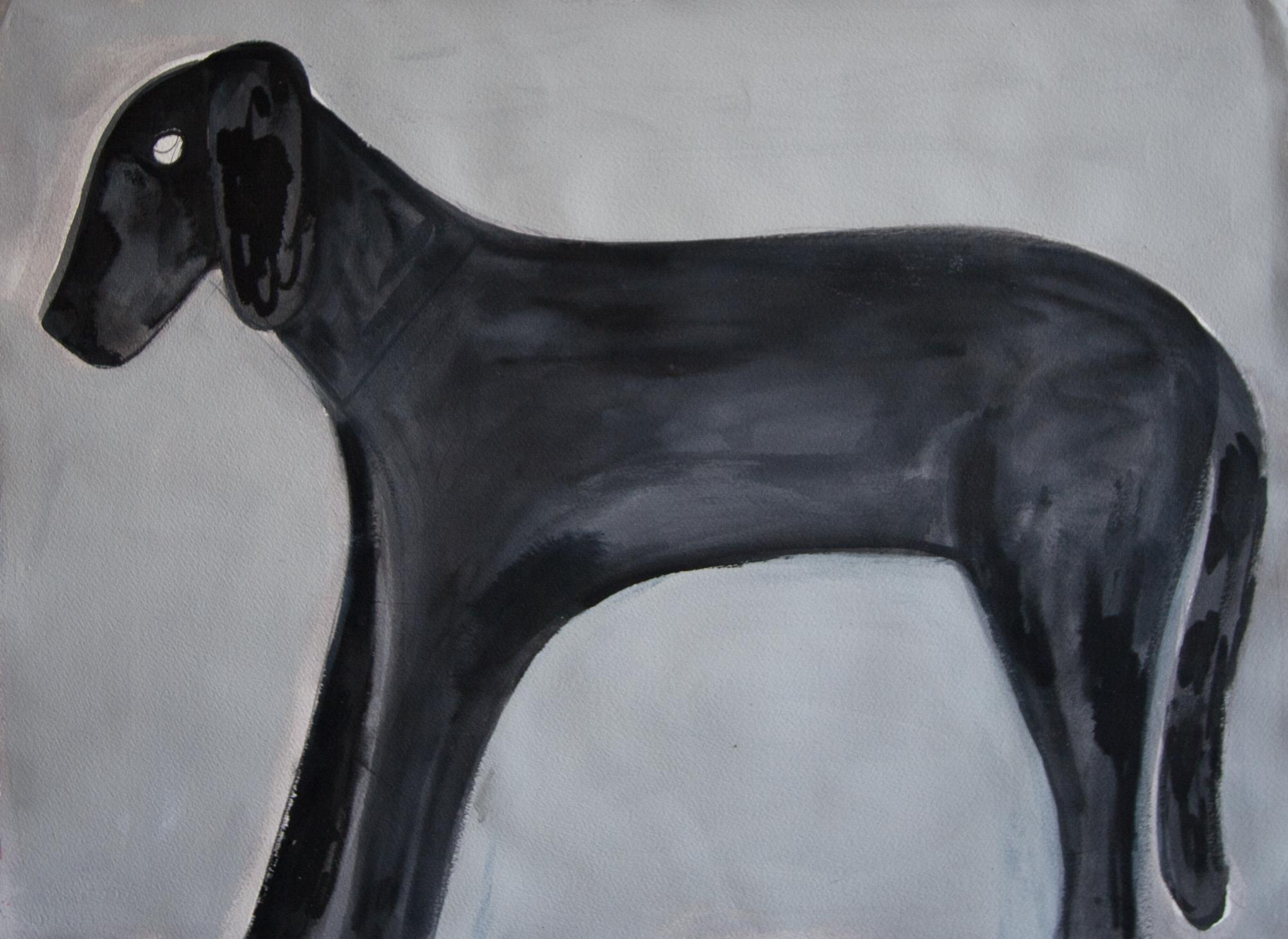 "untitled (dog) 2015, flashe and acrylic on paper, 22 ¼  x 30 ¼"""