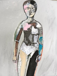 Woman with No Private Parts 2014, gouache on paper