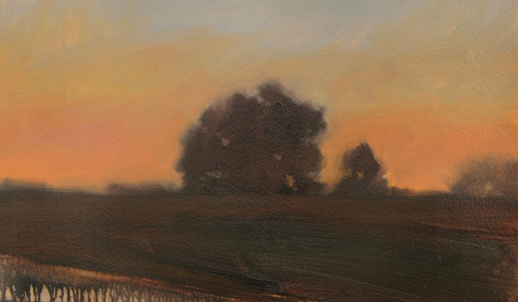 "Dusk (study 2), oil on paper, 7.5 x 12.5"""