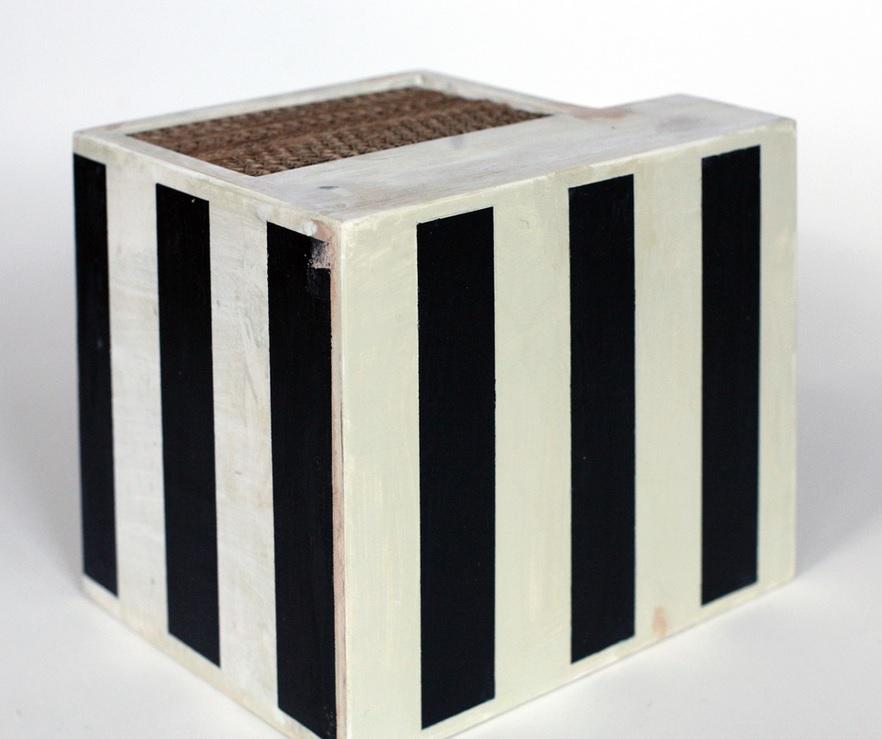 "Black Liftoff  2013, polychrome wood, 7 x 7.5 x 7.5"""