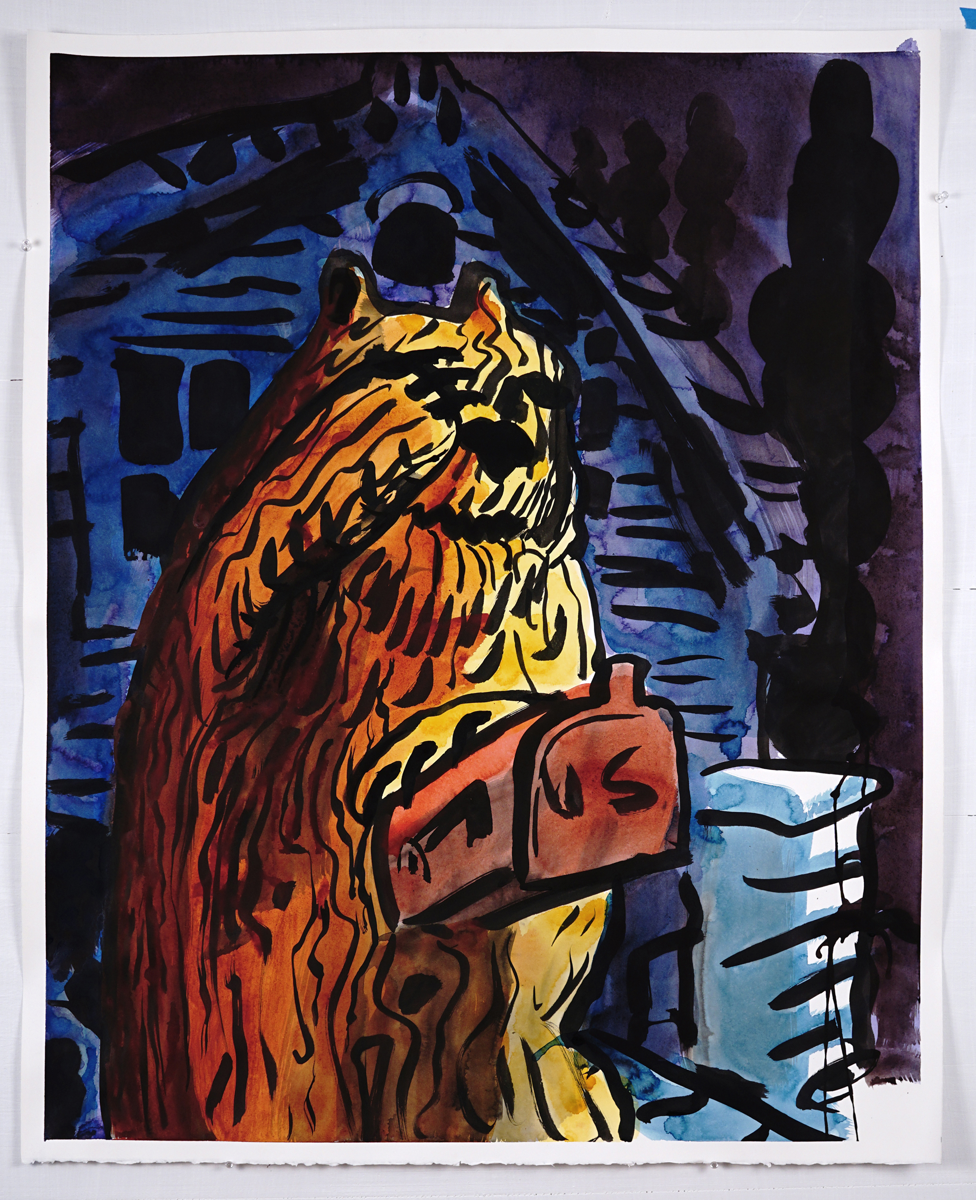 •Carved Bear Mailbox, watercolor and ink on paper, 32x40, 2017