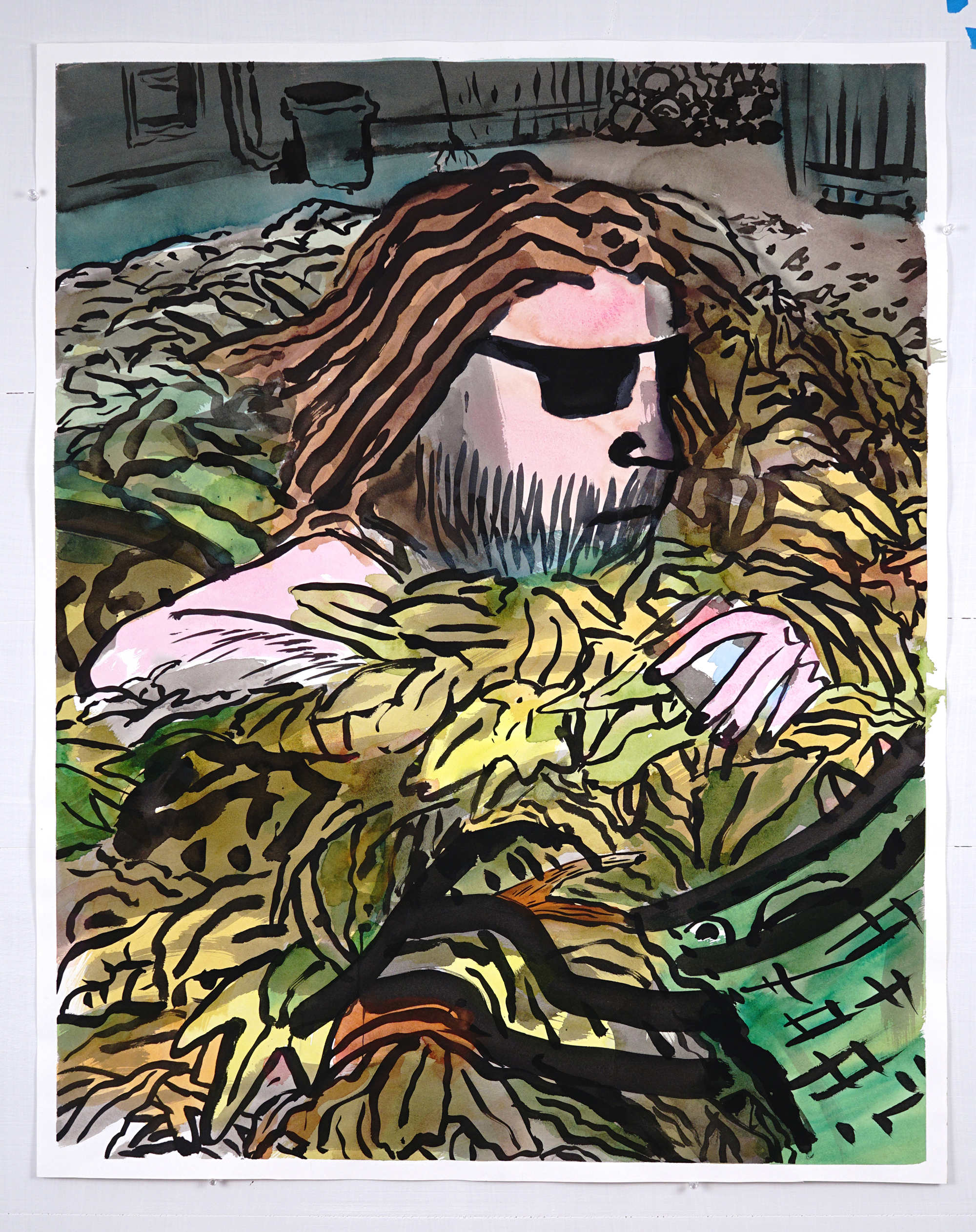 •Hipster in the Leaf Pile, watercolor and ink on paper, 32x40, 2017