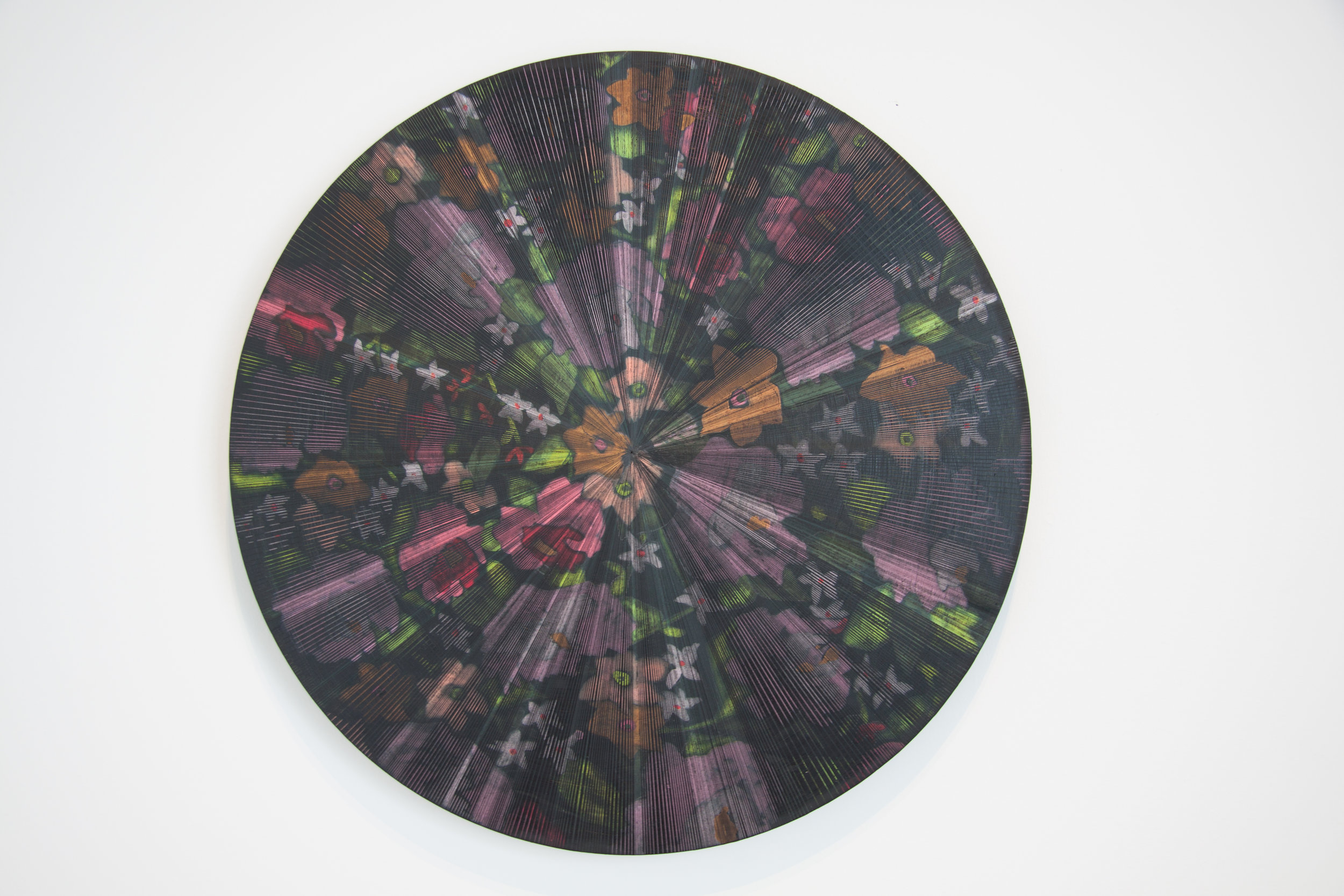 "Kelly S. Williams, Bougainvillea, 2017, Acrylic and oil on wood, 18"" diameter"