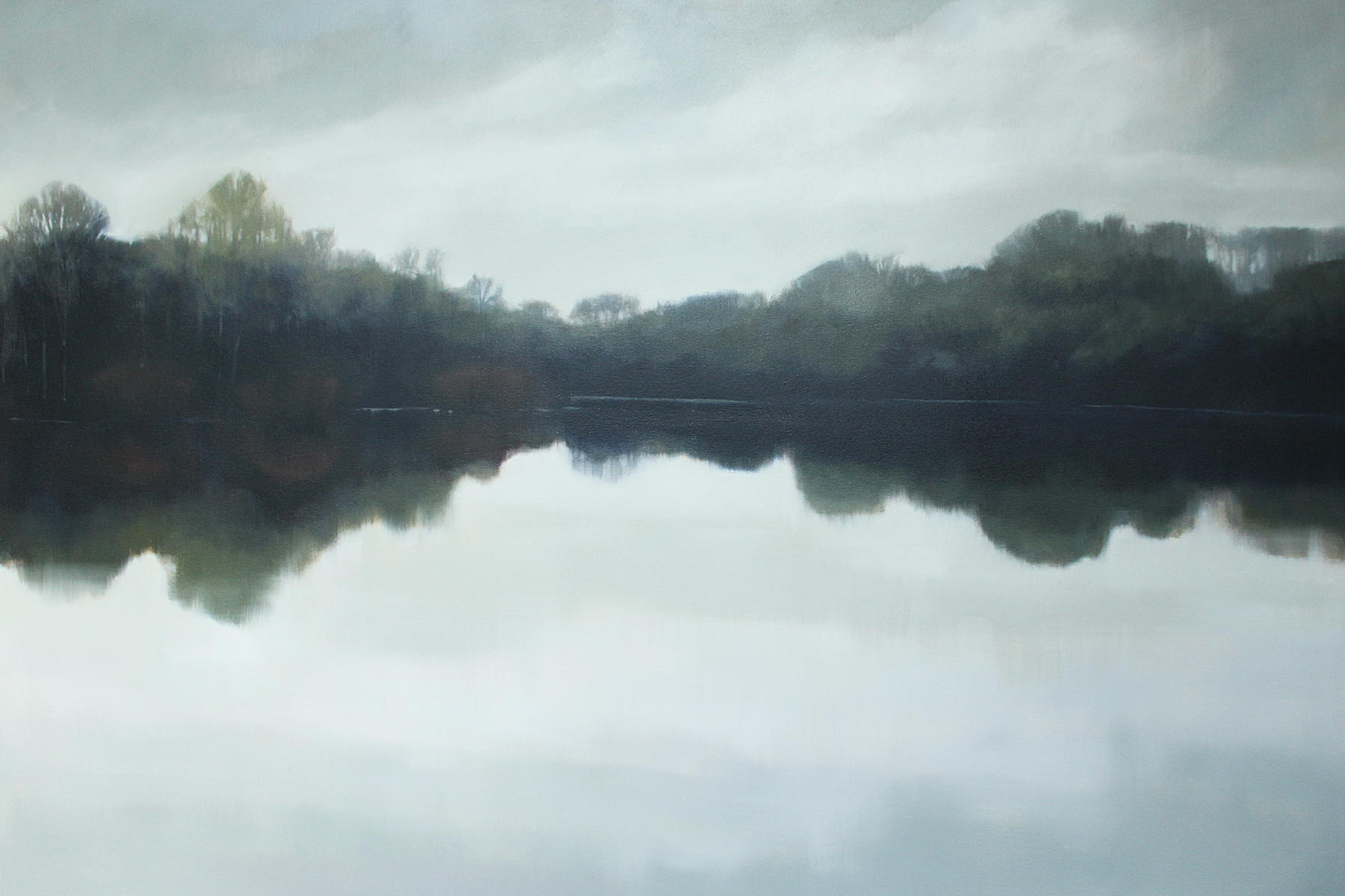 Old Hickory Lake from Haynes Family Farm, oil on canvas over panel, 48x72x2.5