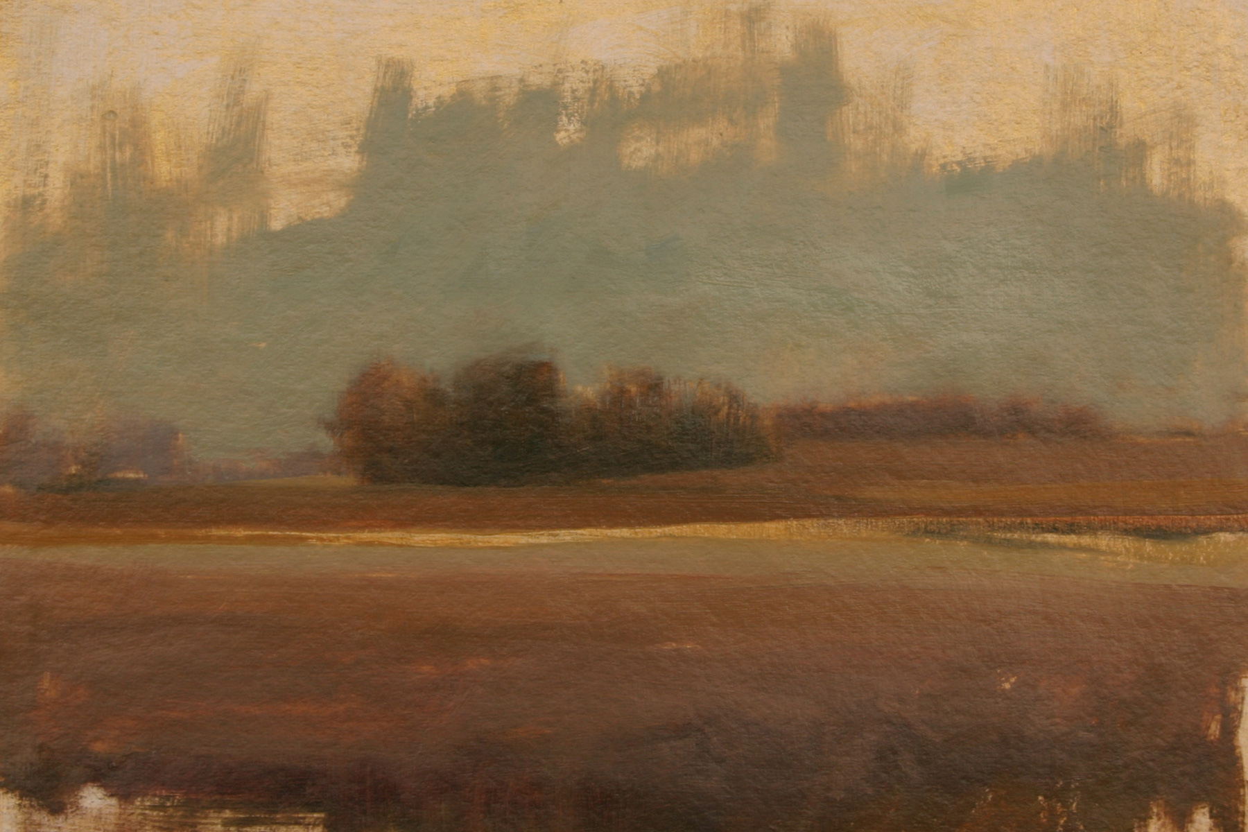 "Autumn Field #2, oil on paper, 9 ½ x 18"""