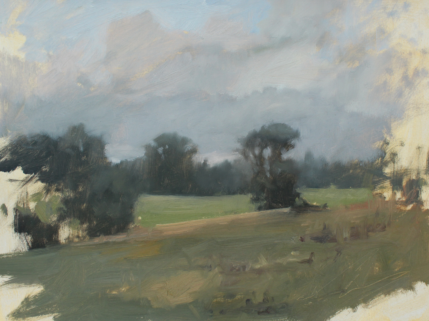 Happily Ever After Farm Field Study, oil on paper, 9 x 12 in