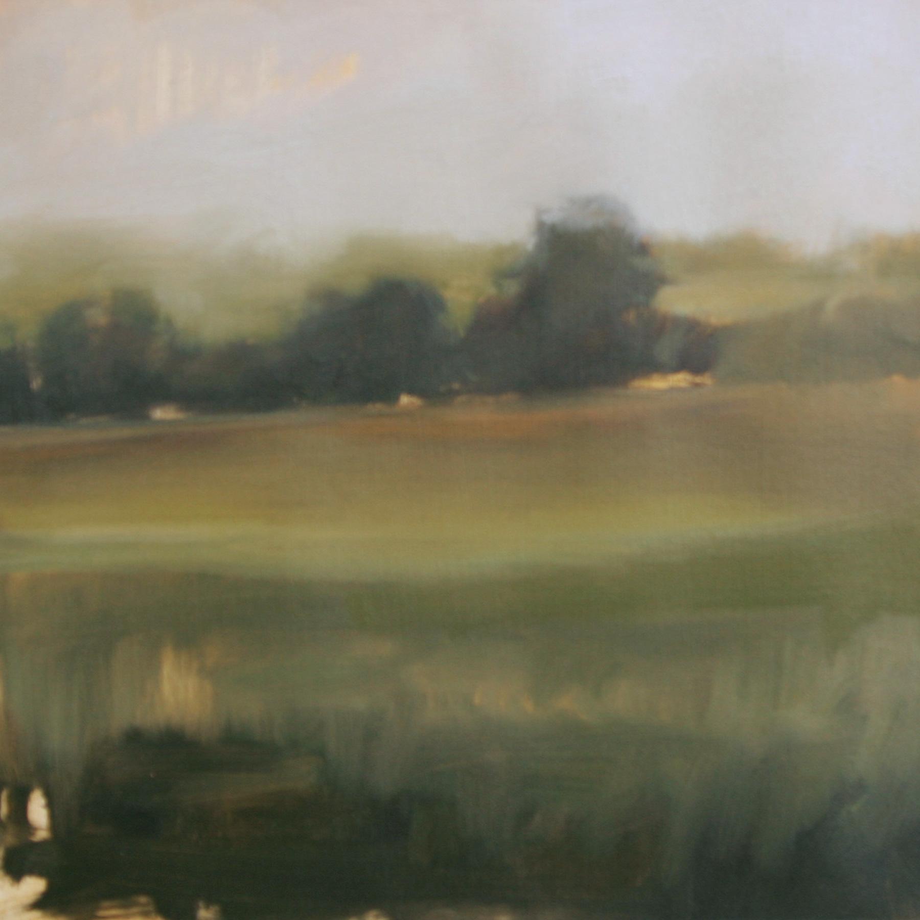 "Meadow Study #1, oil on paper,  7""x7"""