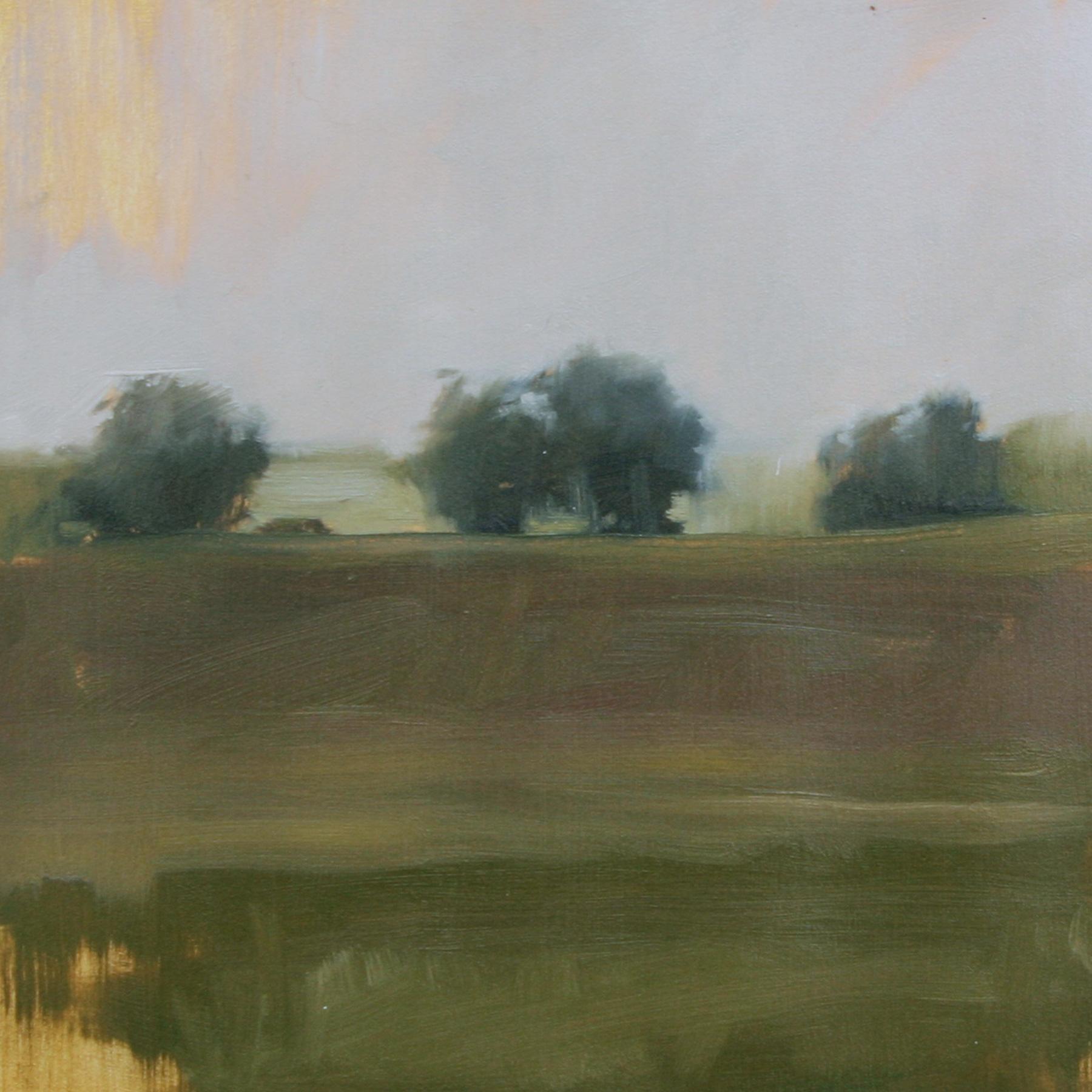 "Meadow Study #2, oil on paper,  7""x7"""