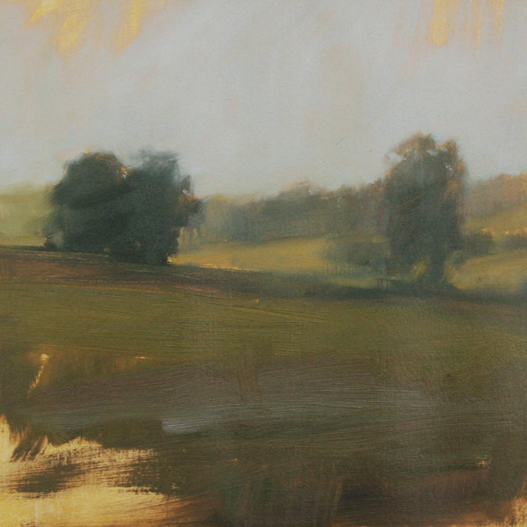 "Meadow Study #3, oil on paper,  7""x7"""