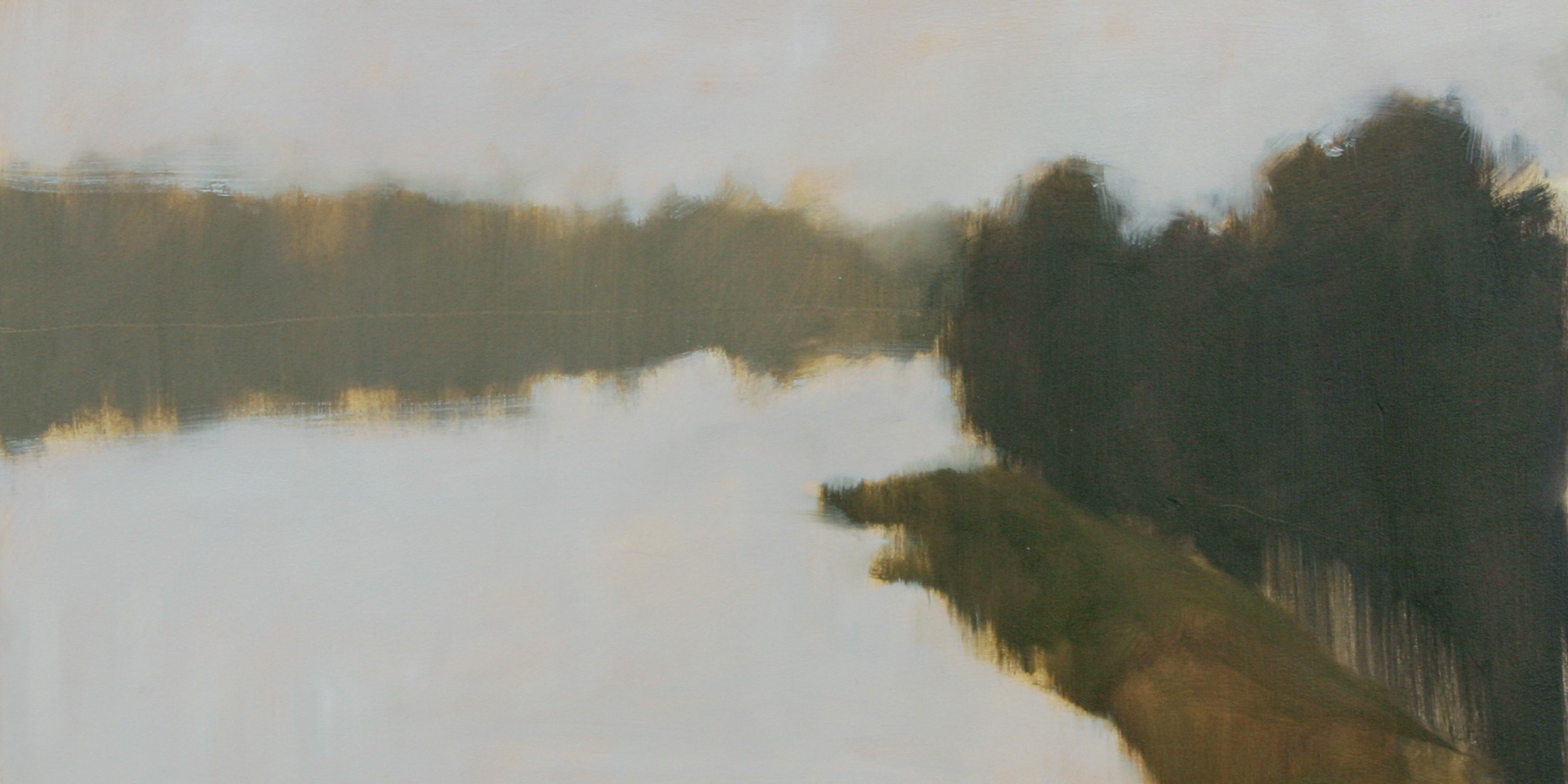 """Water Study #2, oil on paper  7"""" x 13 ½"""""""