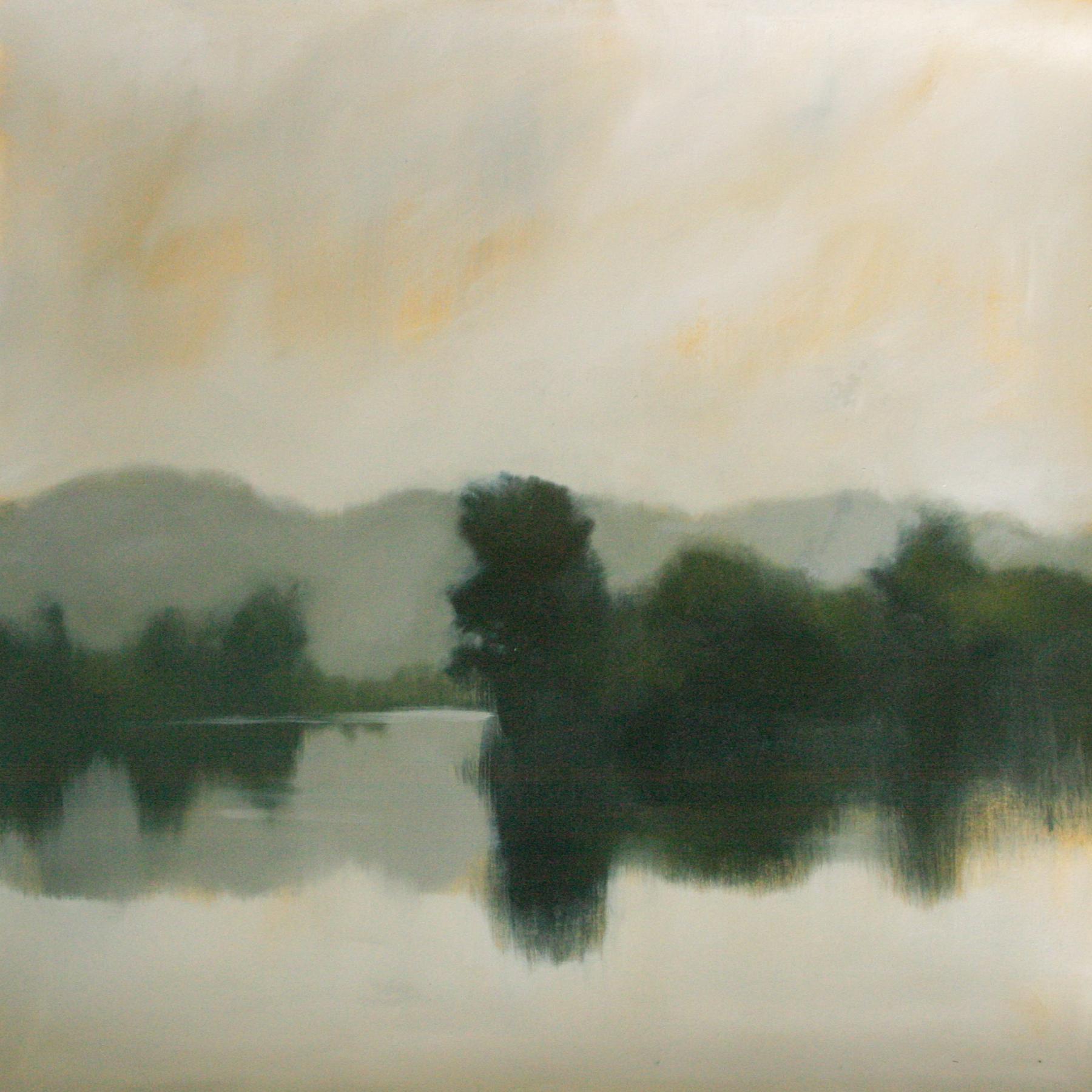 "Lake Study #1, oil on paper 22x 22"""