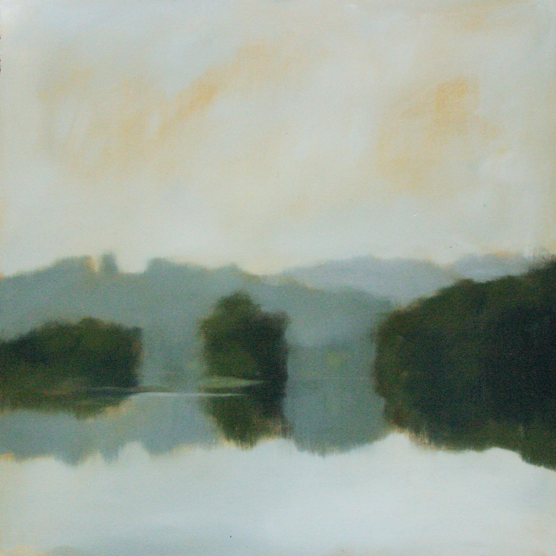 "Lake Study #2, oil on paper 22x 22"""