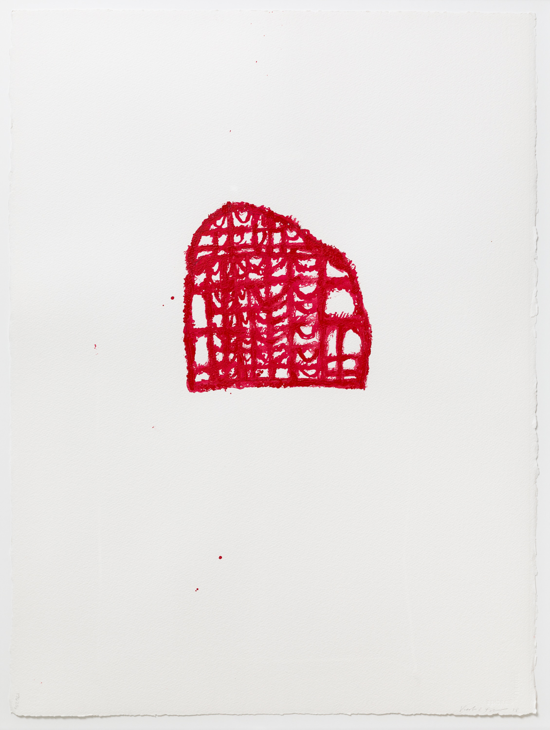 Red Gate Study, 33.75 x 36 inches, acrylic paint (marks made with fingers and a hairpin), 2018