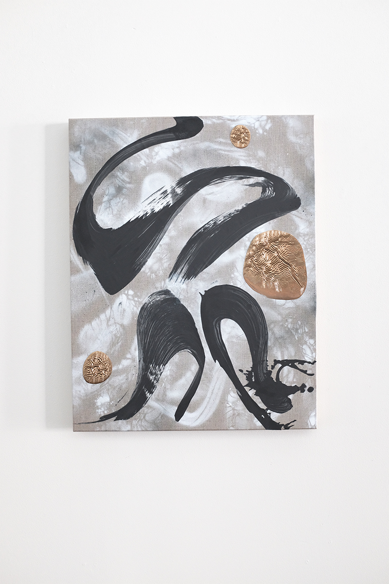 Richard Feaster, Zaius, 2019, Graphite and enamel on mylar and linen, 28 x 22 inches