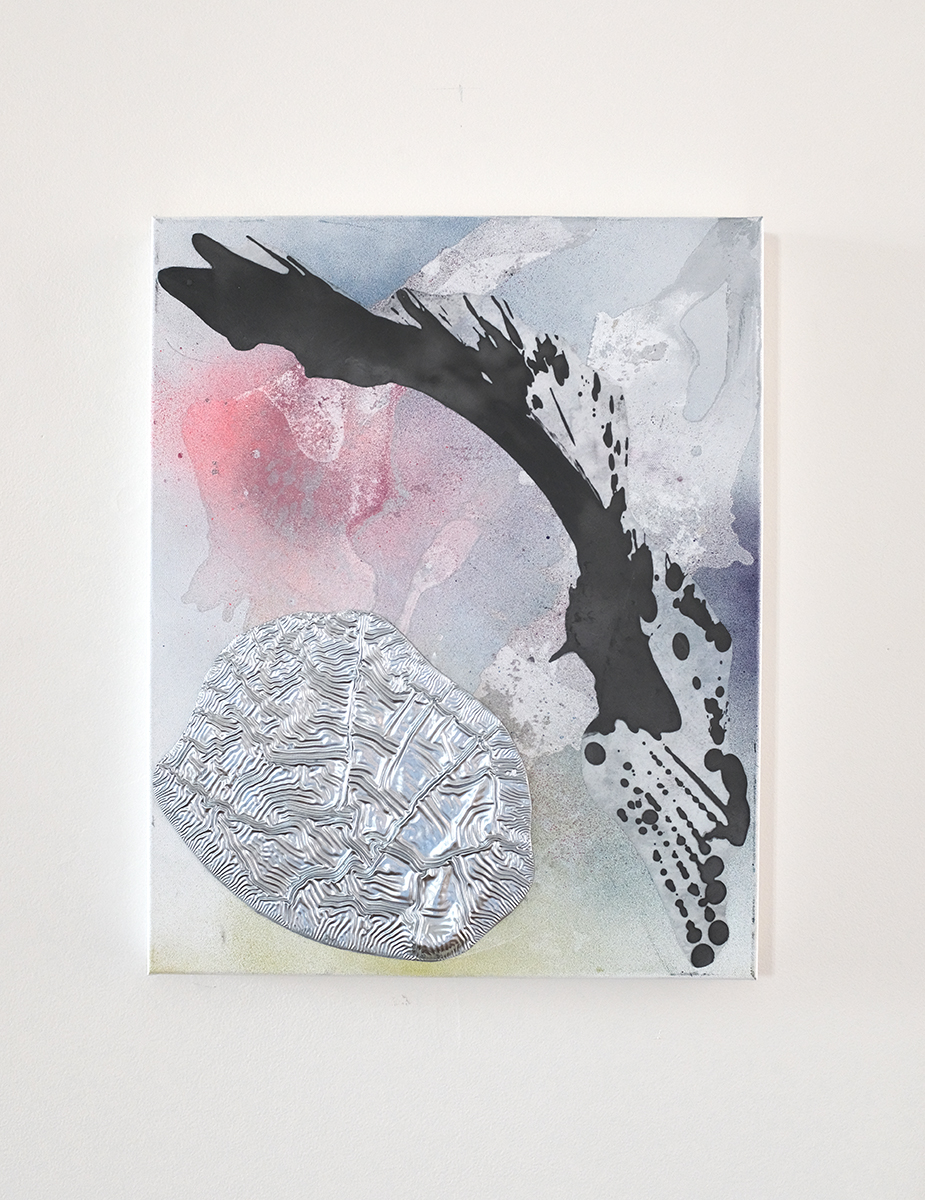 Richard Feaster, Chasing the Bird, 2019, Graphite on mylar and enamel on canvas, 20 x 16 inches