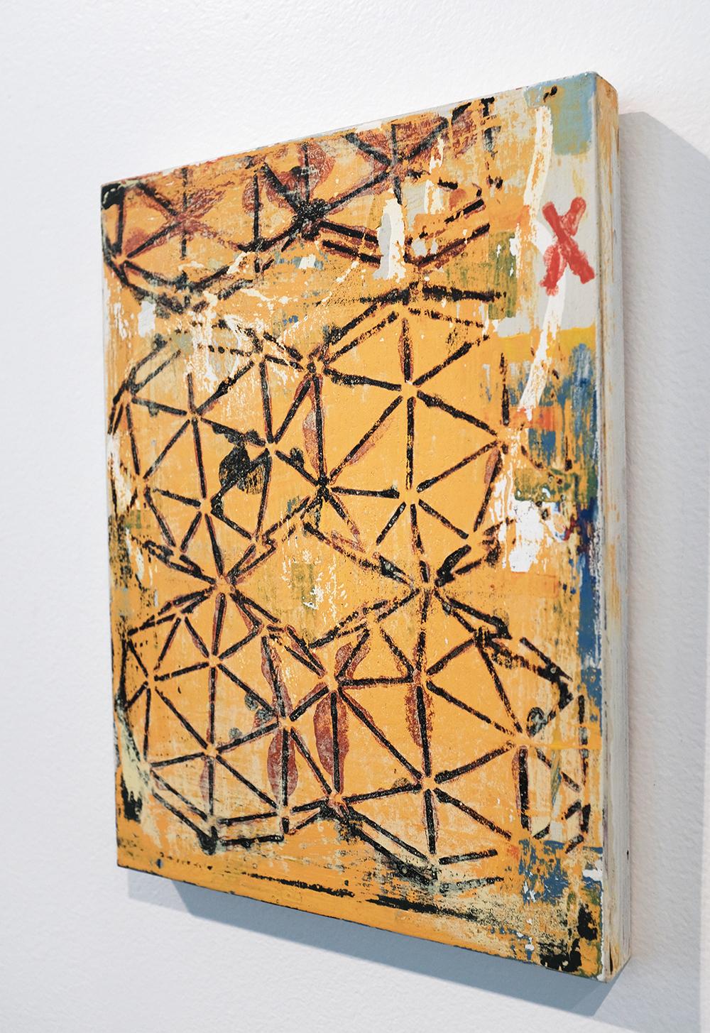 Xanadu, 2008-19, acrylic and paste on wood, 9 x 12 inches