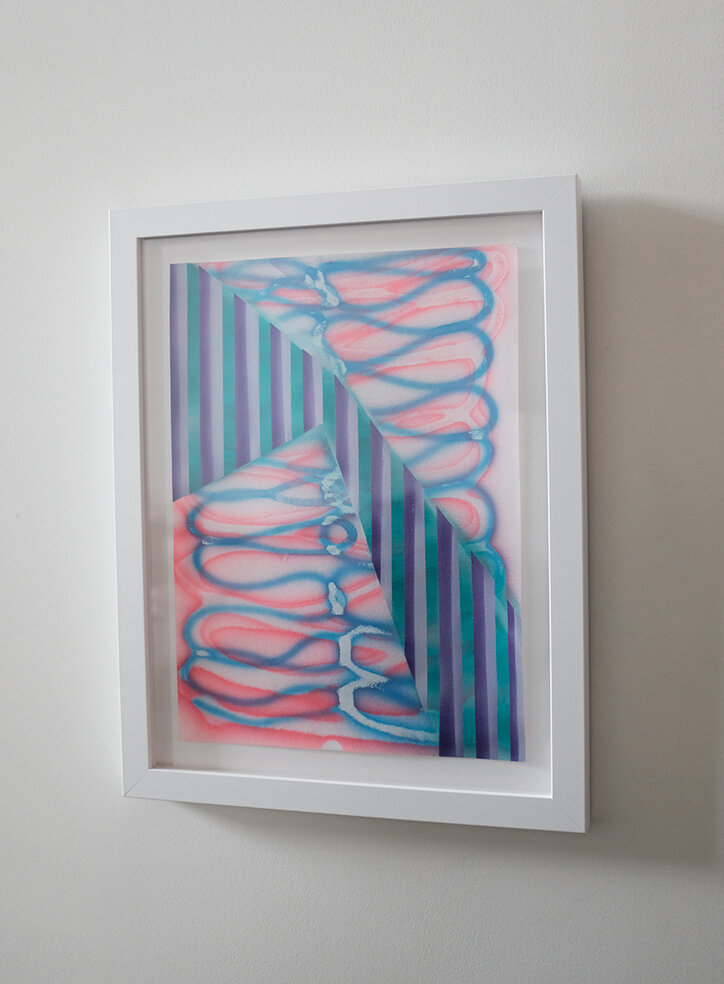 "Untitled (light wave),  2019, airbrush on paper, 11"" x 15"""