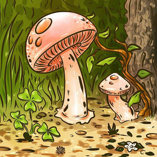 Sometimes I start drawing one thing and end up drawing something else ^_^ ... ... ... #mushrooms #mushroom #illustration #drawing #sketchbook #art #ink #toys #prints #storybook #illustrationartists  #illustratorsofinstagram #illustrationsdaily #illustrationshares #softaesthetic  #softaesthetics #tumblraesthetic #kawaii #comic #cartoon #nature #hike #wanderlust #witch #forest #clover #flower #drawingwhileblack