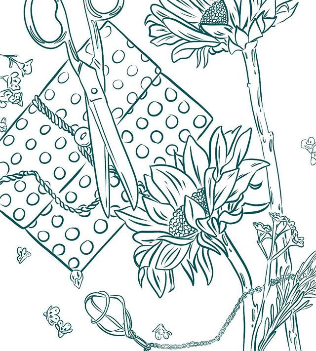 Fun fact: @gordonlizziej gave me the notebook and the necklace featured in this illustration ... ... ... ... .. #illustration #drawing #ink #coloring #pencils #garden #gardener #coloring #coloringbook #coloringforadults #color #sketch #ink #drawing #art #artwork #lineart #tattoo #coloringpage #penandink #garden #flower #flatlay #design #pattern #pages #meditation #peace #relaxation
