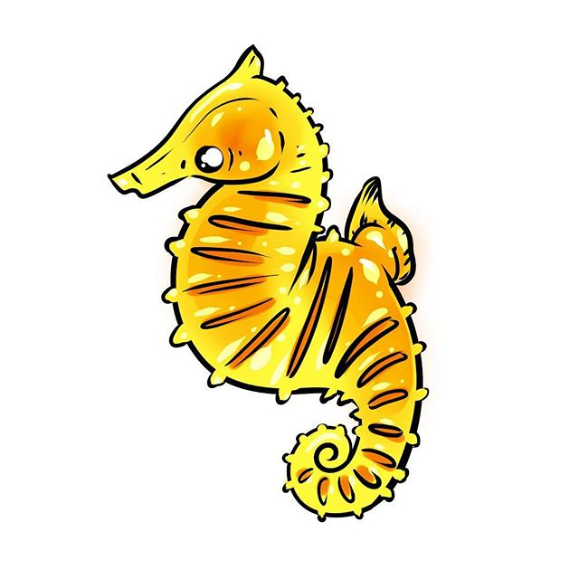 Some animals are shockingly resilient ^_^ ... ... ... #seahorse #horses #animals #aquarium #aquariumlovers #seahorses #cute #illustration #subscriptionbox #stickerbox #stickers #yellow #orange #drawing #ink #jelly #illustration #tropicalfish #saltwatertank #art #artwork #kawaii #bujo #bulletjournal #stationery