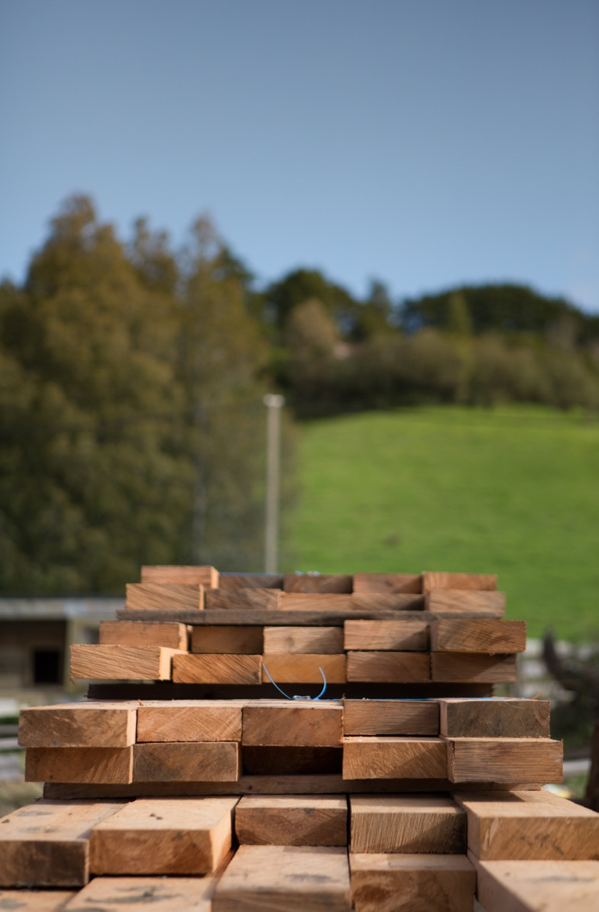Freshly milled timber stacked for drying