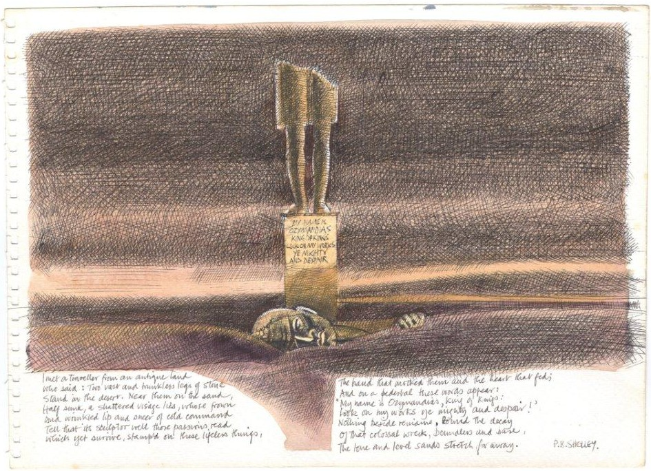 An ink and wash sketch on the theme of Percy Bysshe Shelley's 'Ozymandias' (Date Unknown)  The Serendipity Project