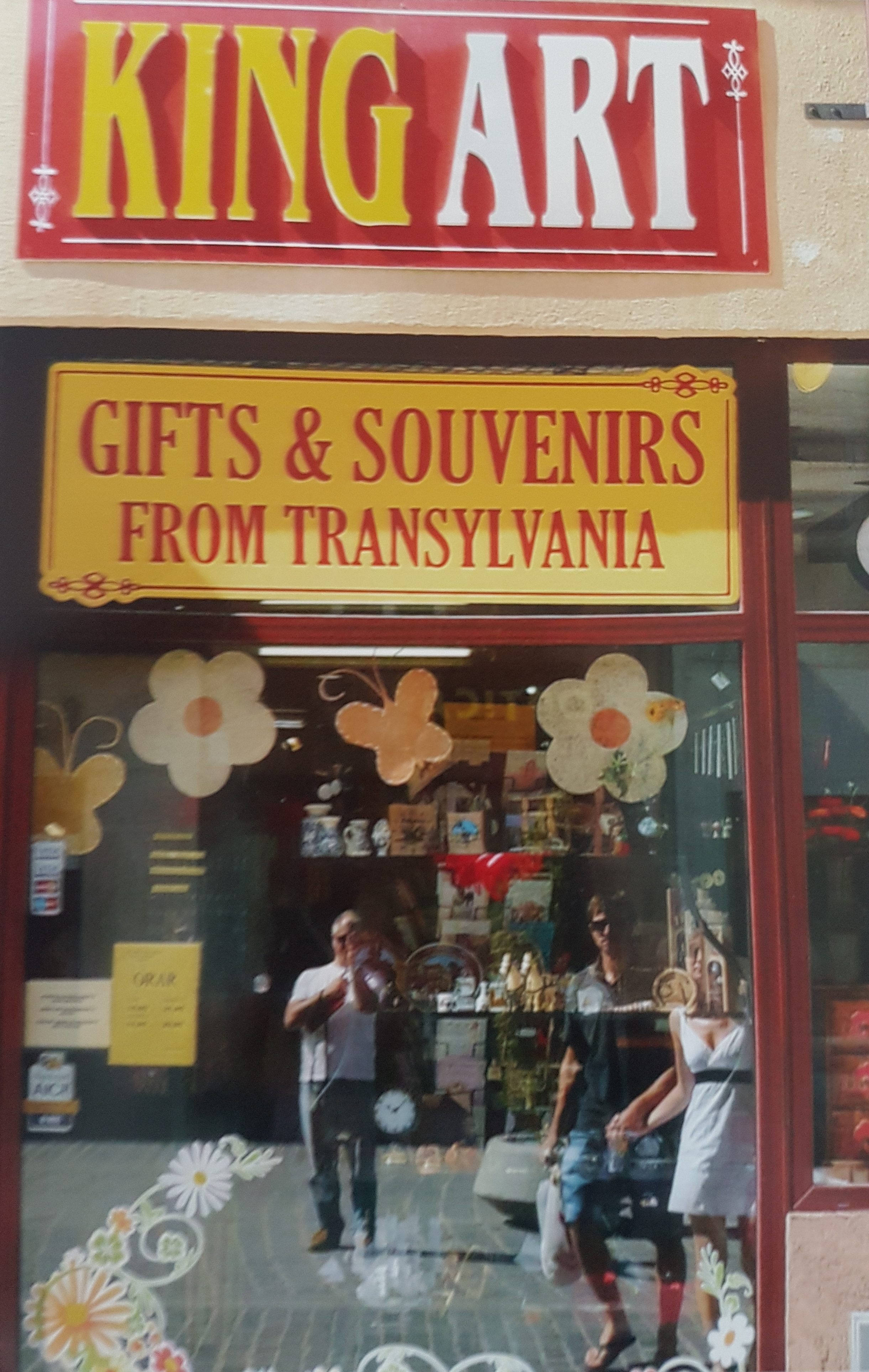 One of the more popular gifts and souvenirs shops which tourists to Brasov will visit. You can see MG's reflection on the window. MG Michael archives
