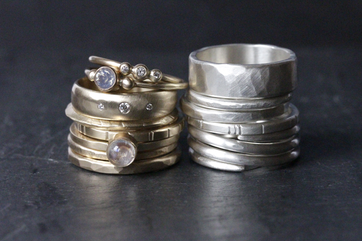 Rebecca Mir Grady 14k Diamond Alcott rings