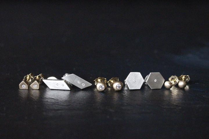 Rebecca Mir Grady Diamond 14k Gold and Sterling Silver Earrings