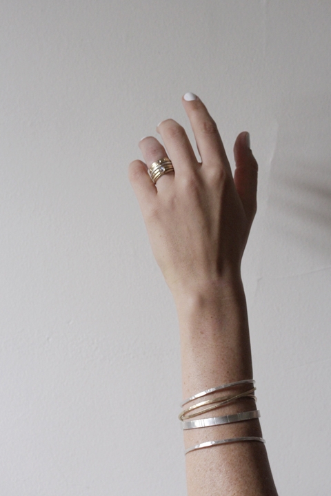 Rebecca Mir Grady 14k Gold Diamond and Moonstone Rings