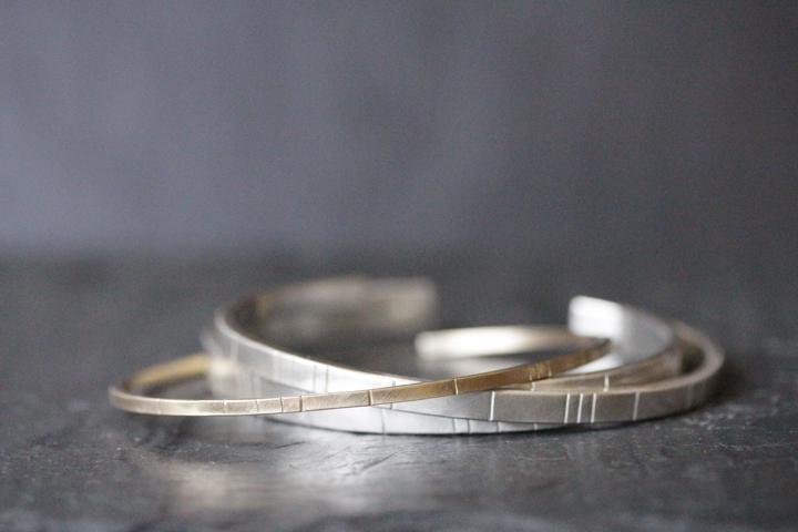 Rebecca Mir Grady 14k Gold and Silver Breakwater cuffs