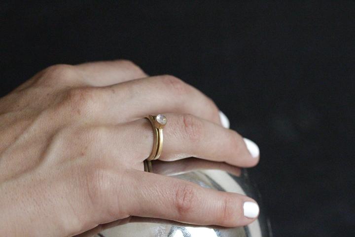 Rebecca Mir Grady 14k Gold Moonstone Ring