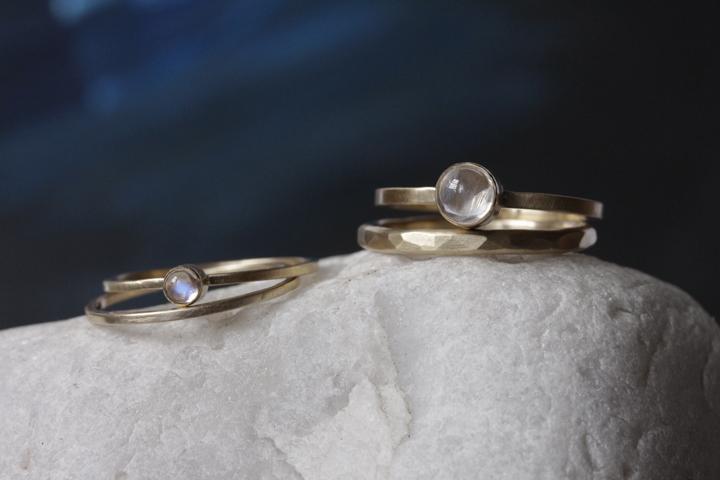 Rebecca Mir Grady Moonstone 14k Gold rings