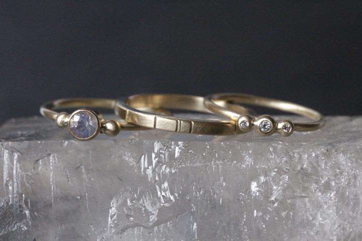 Rebecca Mir Grady 14k Diamond and Opal Rings