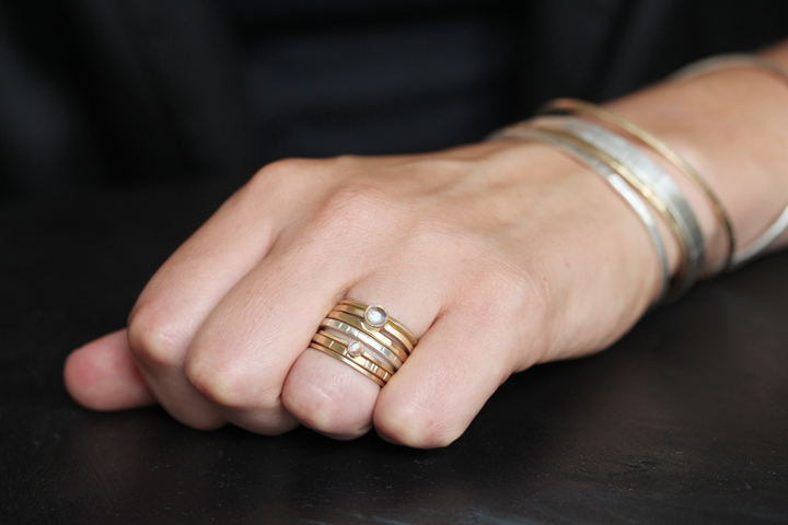Rebecca Mir Grady 14k Gold and Silver Stacking rings
