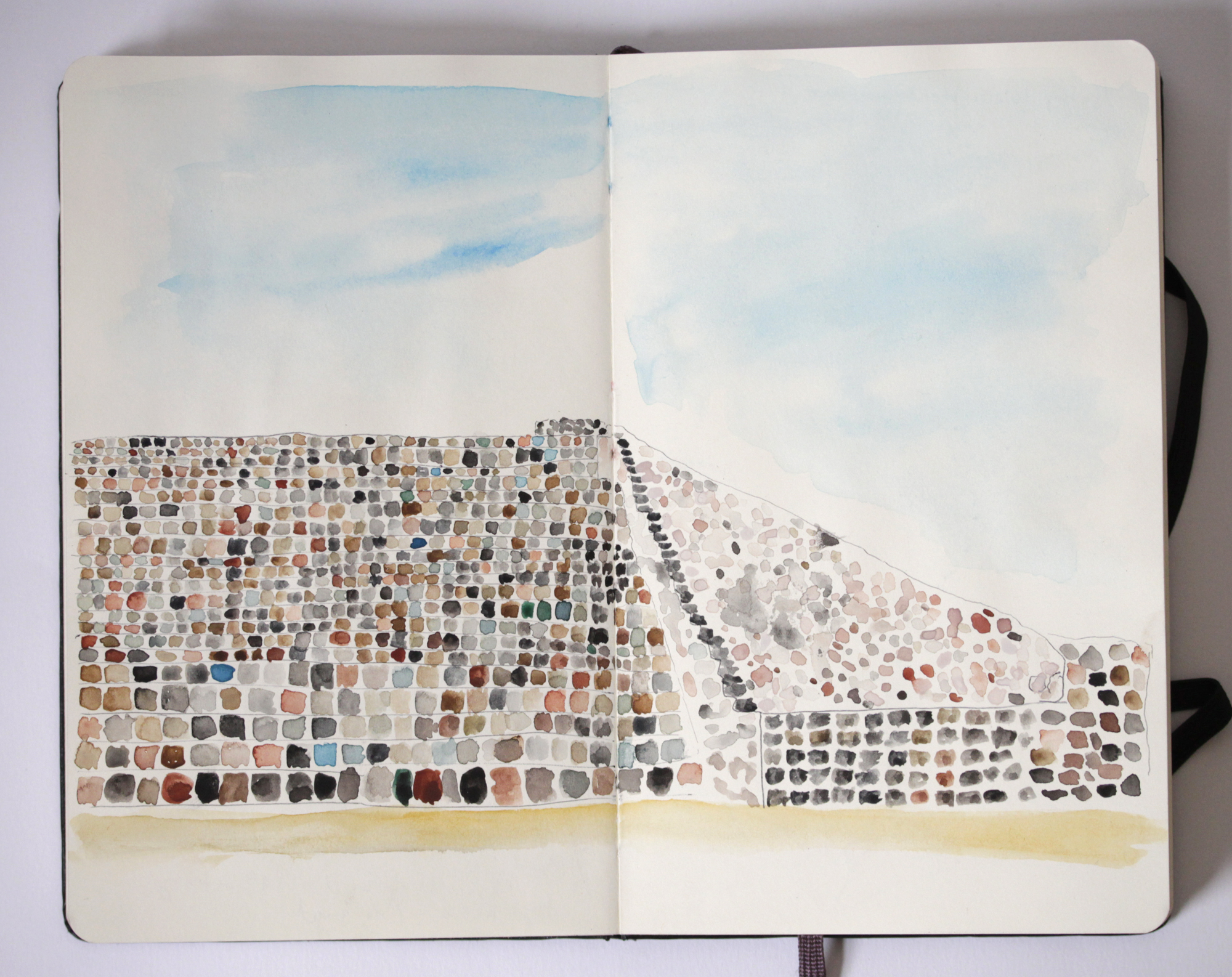 Monte Alban watercolor - rebecca mir grady