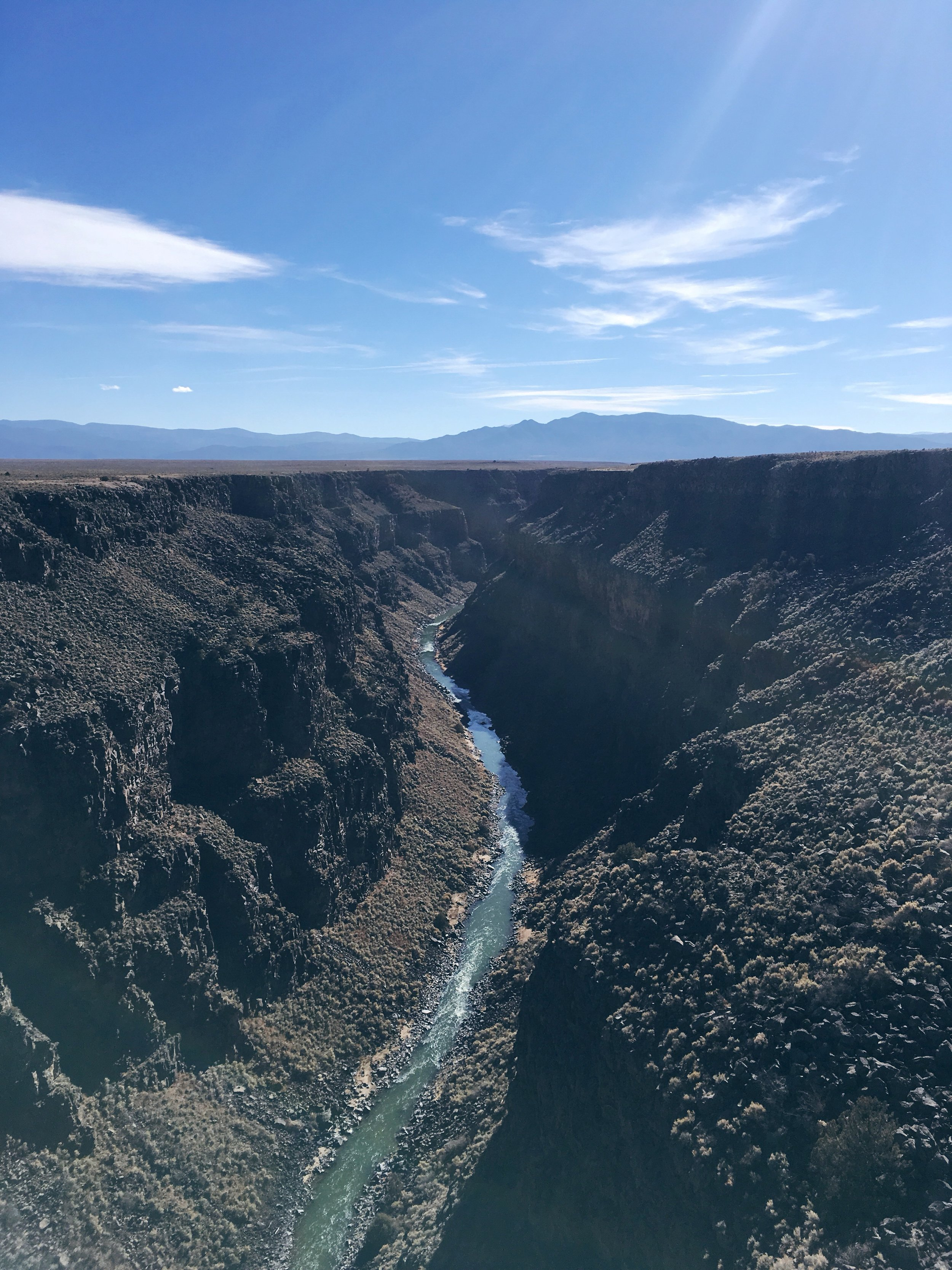The view of the Rio Grande River from the Gorge Bridge near Taos is equal parts magnificent and terrifying.