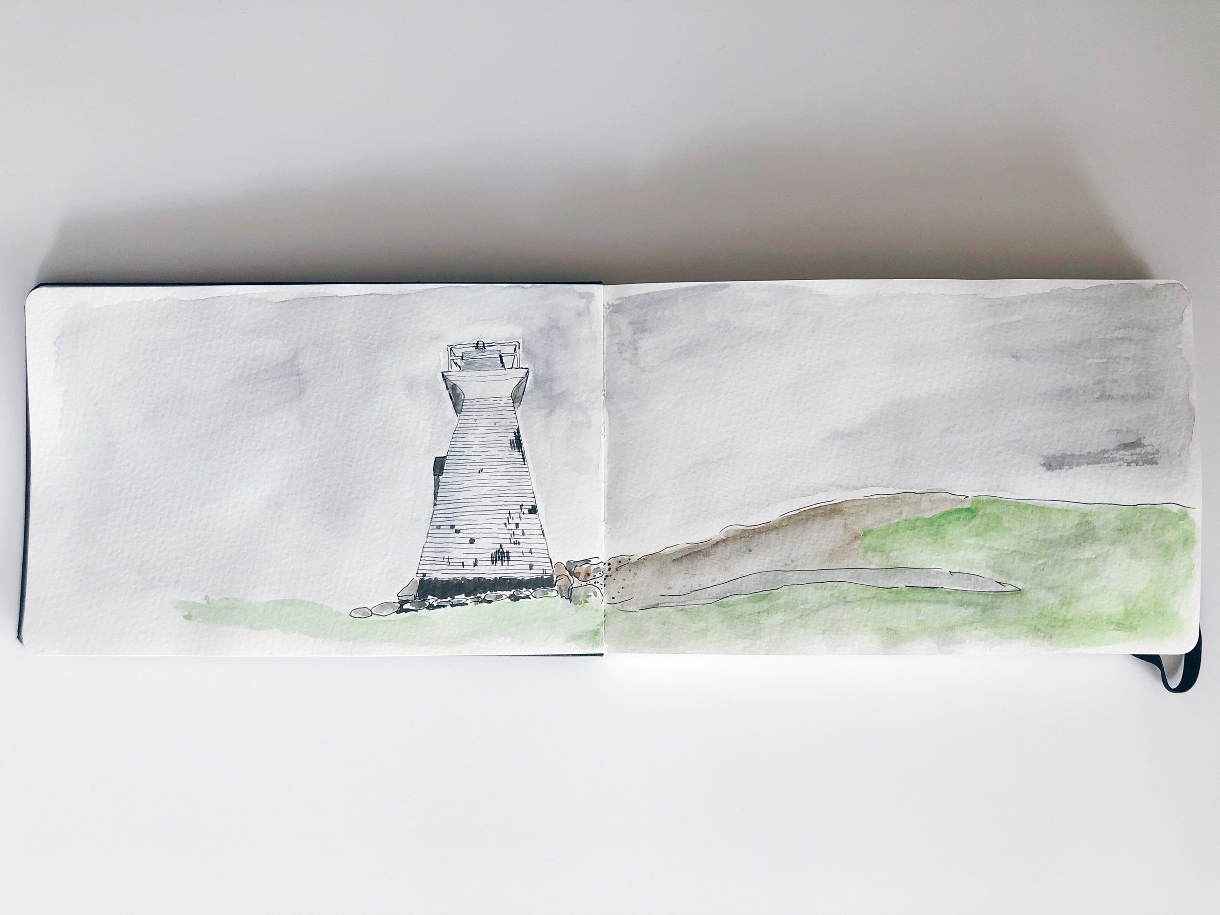 the lighthouse at terence bay nova scotia watercolor rebecca mir grady