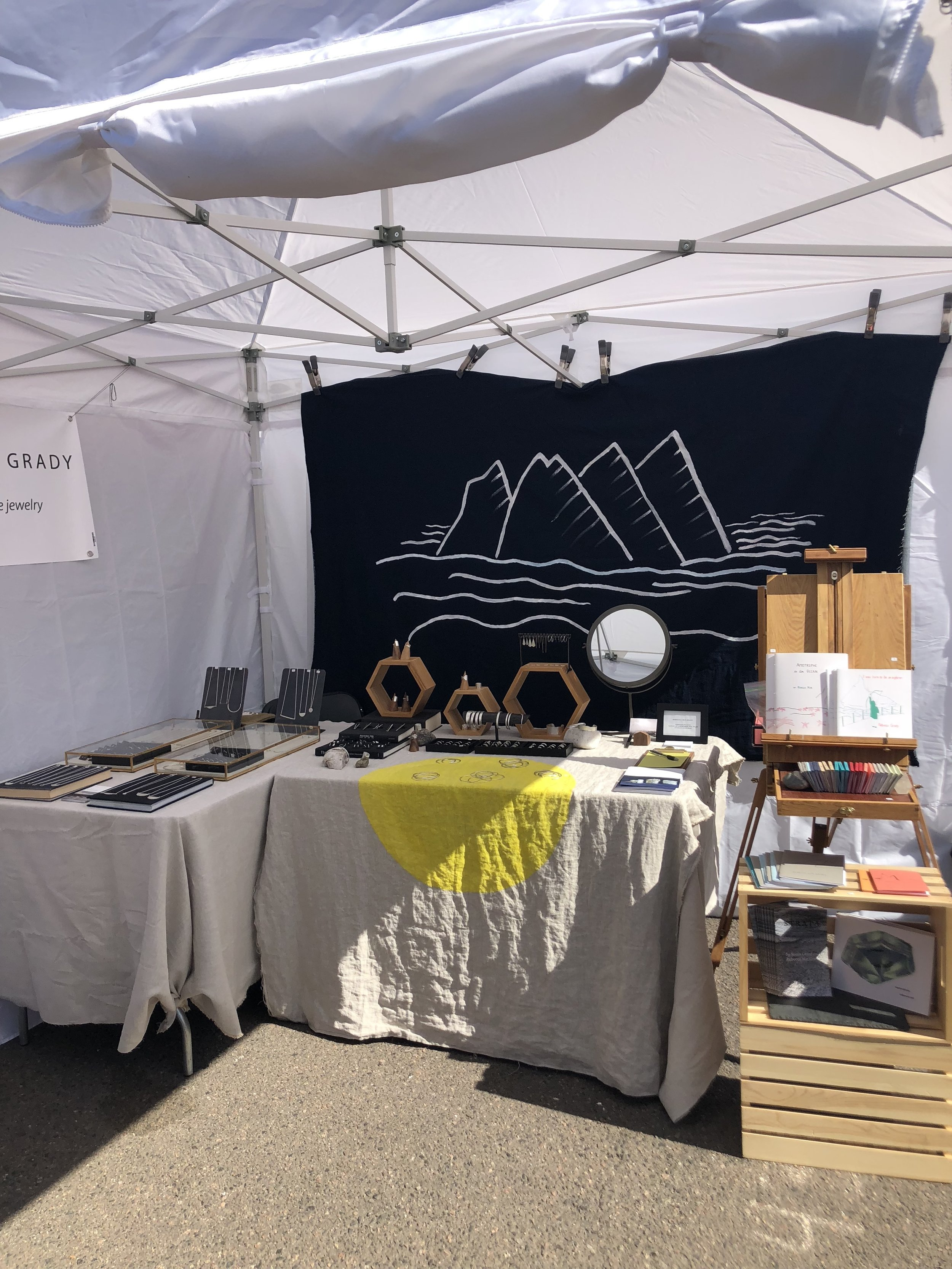 This turned out to be the best layout for a corner booth at the fair, with least sun at all times of day on the jewelry and books. And as it turns out the books get hot too!