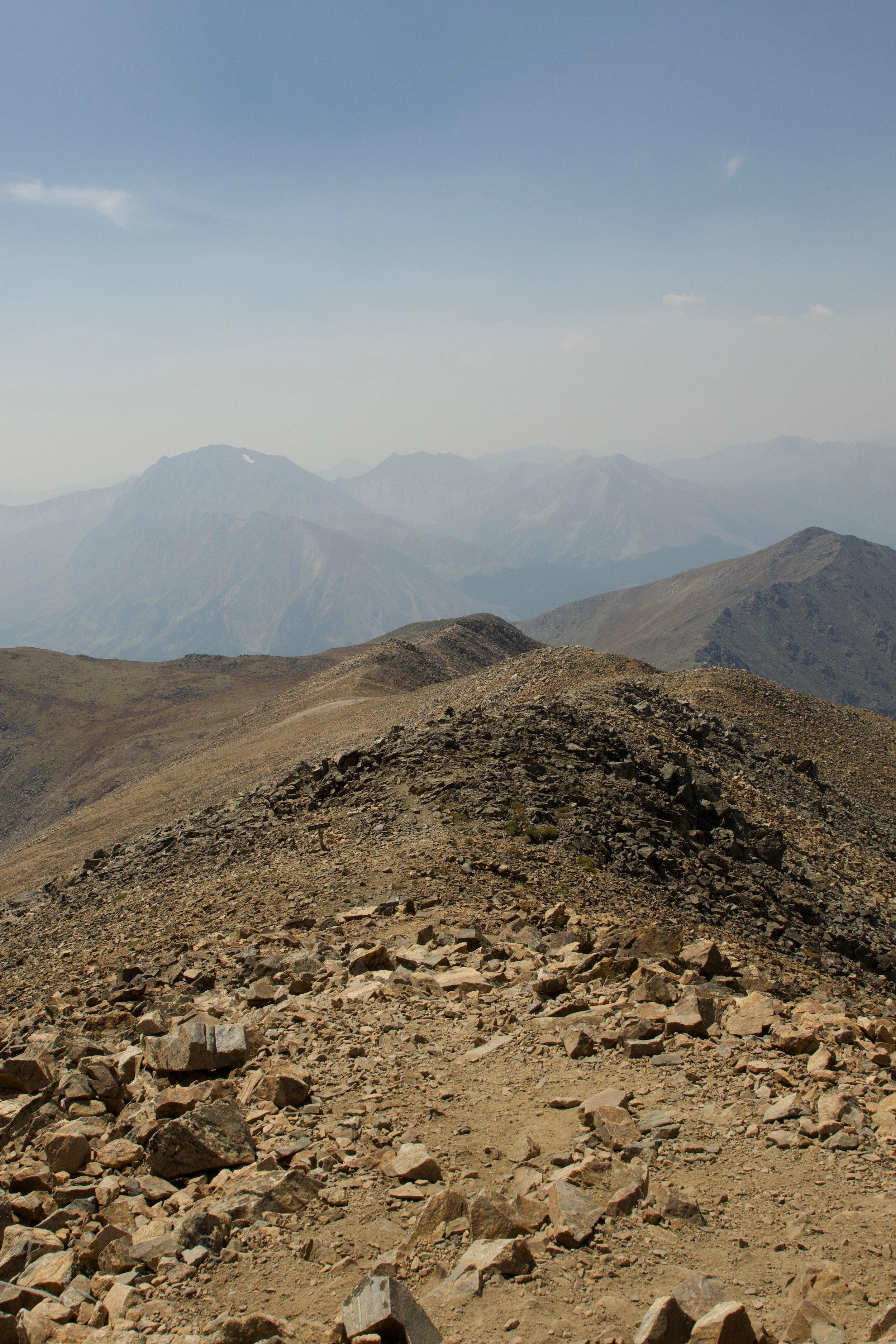 the hazy view from the top of Mt. Elbert