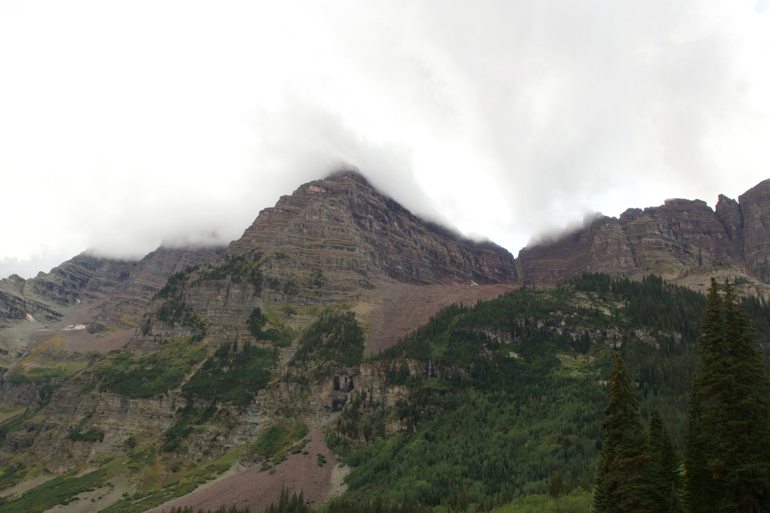 Maroon Bells in the clouds