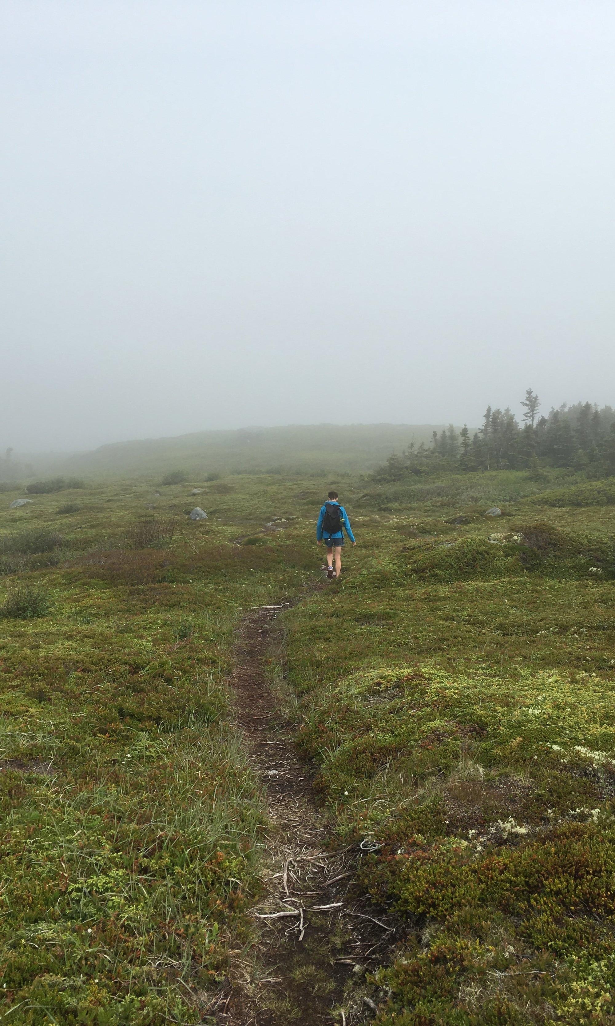 Sonia in the fog in Terence Bay
