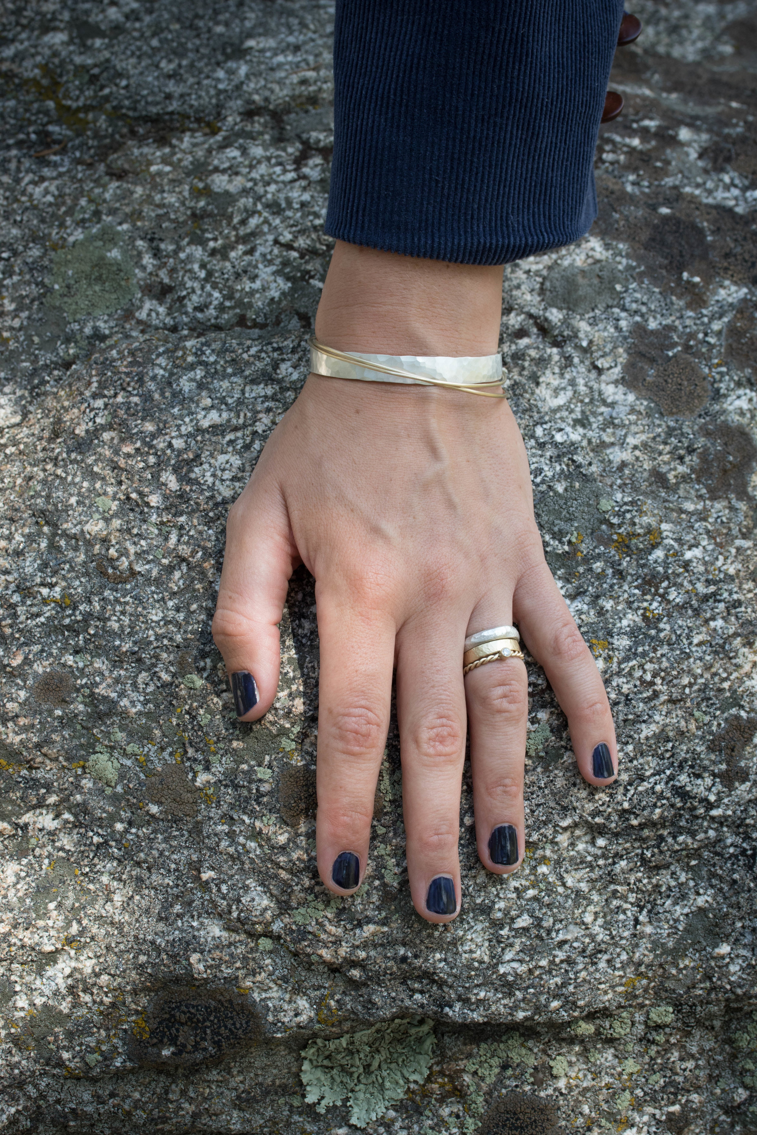 A sweet bracelet and ring stack. The  Mitla 8mm  cuff with the Pontchartrain Thin and Extra Thin Pontchartrain bangles, worn with a  4mm Atalaya ,  4mm Granite  and  3mm Diamond Rope  rings.