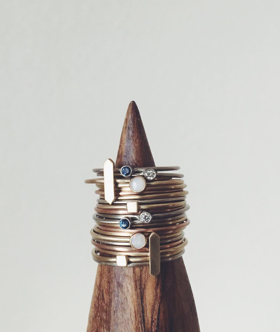 I sent this amazing set of stacking rings off to Sojourn in Michigan last summer. It featured a mix of 14k yellow, rose and white gold bands, including the plain  Thetis ,  Sapphire Thetis ,  White Diamond Thetis , Maestro, Thetis Em and  Opal Thetis  rings.